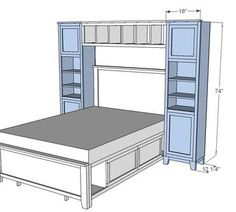 Hailey Towers for the Storage Bed System - Diy Furniture Bedroom Closet Bedroom, Home Bedroom, Kids Bedroom, Master Bedroom, Extra Bedroom, Kids Rooms, Diy Furniture Plans, Bedroom Furniture, Furniture Storage