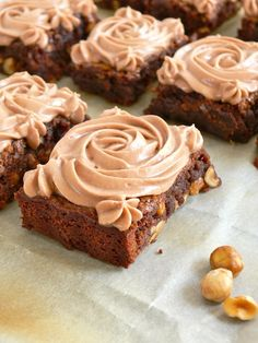 banana nutella brownies with marscapone nutella frosting