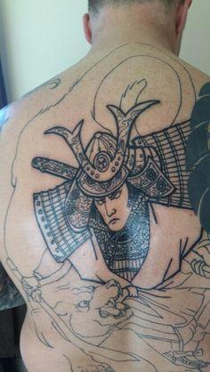 Second sitting. Japanese samurai 'Shoki', line work Tiger Tattoo, Line, Samurai, Japanese, Tattoos, Tatuajes, Fishing Line, Japanese Language, Japanese Tattoos