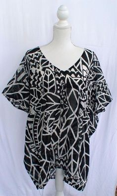 Semi Sheer Black and White Swimsuit Cover-Up Blouse OSFM #Unbranded #CoverUp