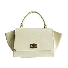 """Designer Style Origami Cream Leather Handbag (Large Size)""""   - Down to £64.99 from £94.99"""