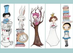 Alice In Wonderland Bookmarks by the poppy tree