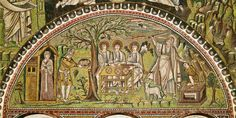 The Hospitality of Abraham Unknown Artist century Basilica di San Vitale Ravenna (Province of Ravenna. Ravenna Italy, Ravenna Mosaics, Christian Charities, Spiritual Reality, Religion, Byzantine Art, Sisters In Christ, Russian Art, Christian Art