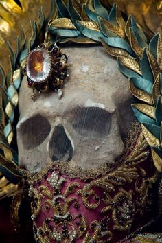 "Saint Leontius ""One of the most famous of the jeweled skeletons, he was a  popular healing saint, and his relic was said to even have the power to  raise dead childrenPhoto credit and caption: Paul Koudounaris"