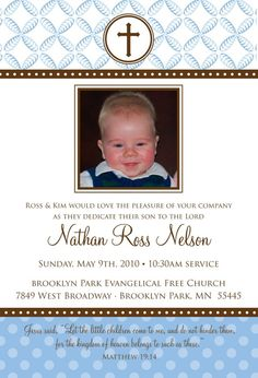 Baby dedication invitation baby pinterest babies dedication polka dot leaves custom baptism baby dedication first communion christening announcement or invitation for boy stopboris Image collections