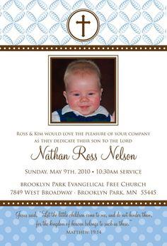 Polka Dot Leaves - Custom Baptism Baby Dedication First Communion Christening Announcement or Invitation for boy or girl