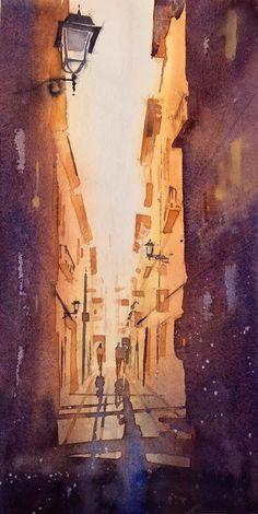Iain Stewart Gothic Quarter Barcelona. Demo for PVS. DANIEL SMITH: Artists' MaterialsKim St Cuthberts Mill