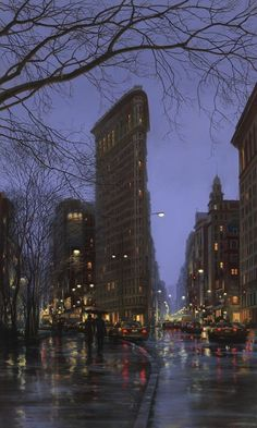 The Flatiron Building located in New York City still looking spectacular even in the rain. You can see the hustle and bustle due to the NYC traffic along the road. Flatiron Building, Nocturne, City Scene, City Art, Places To See, New York City, New York Skyline, Beautiful Places, Scenery