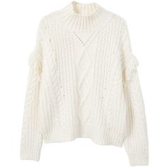 Fringes Cable-Knit Sweater (120 TND) ❤ liked on Polyvore featuring tops, sweaters, fringe sweaters, thick turtleneck sweater, cable sweater, cable knit turtleneck sweater and knit sweater
