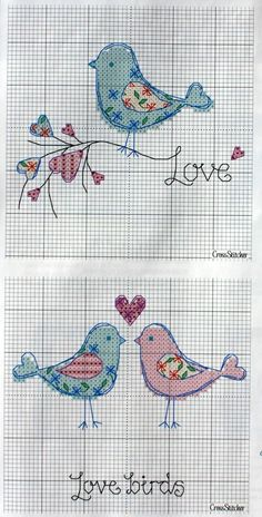 Cross-stitch Birds in Love, part 2 . Cross Stitch Needles, Cross Stitch Heart, Cross Stitch Cards, Cross Stitch Animals, Cross Stitching, Cross Stitch Embroidery, Embroidery Patterns, Cross Stitch Designs, Cross Stitch Patterns