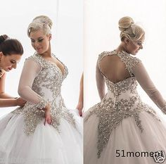 2016 Wedding Dresses Ball Gown Bridal Gowns Sliver Lace Long Sleeve Plus Size in Clothing, Shoes & Accessories,Wedding & Formal Occasion,Wedding Dresses | eBay