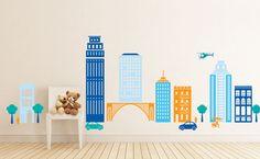 Cityscape Boys Room, Buildings, City, Cars - baby boy Nursery Wall Vinyl. $58.00, via Etsy.
