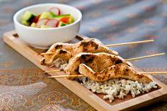 Chicken Satays on Rice with Cucumber Salad Recipe