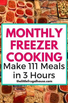 I'm not cooking for 2 months because I just made 111 meals in 3 hours! This monthly freezer cooking plan has a free PDF you can print too! So easy!