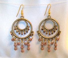 Purple Beaded Chandelier Earrings with Antique by Ricksiconics, $28.00