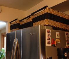4 ways to purge and organize and why have i never thought of place baskets on top of fridge for extra storage spaceastic containers etc publicscrutiny Choice Image