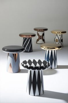 T-Table, by Spanish designer Jaime Hayon for Bosa Ceramiche, is a collection of ceramic small tables inspired by bunch of mushrooms in a forest. Presented during Maison&Objet the T-Table Unique Furniture, Table Furniture, Luxury Furniture, Furniture Design, Wicker Furniture, Deco Ethnic Chic, Objet Deco Design, Small Tables, Side Tables