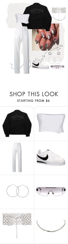 """monochrome"" by avabrit ❤ liked on Polyvore featuring HallWay, Versace Jeans Couture, Twin-Set, Chloé, NIKE, Chanel, Kenneth Jay Lane, Chopard and Gucci"