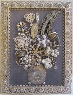 Jeweled Framed Jewelry Flower Bouquet Floral Gray Silver