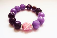 Purple Agate Bracelet Rhinestone Stretch Beaded by GioArte on Etsy, $38.99
