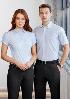 Men's Berlin Short Sleeve Shirt cotton, polyester, elastane stretch fabric Yarn-dyed stripe Wrinkle-free liquid ammonia treated fabric Front and back side panels Curved hem Tapered fit through torso Included loose pockets Corporate Uniforms, Corporate Wear, Staff Uniforms, Short Sleeve Dresses, Dresses With Sleeves, Fabric Yarn, S Shirt, Stretch Fabric, Work Wear