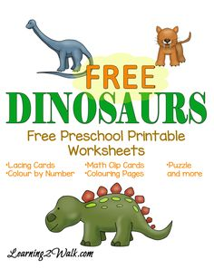 T-Rex, Triceratops how many other dinosaurs can you name? If you are looking for a fun and free preschool printable worksheets for dinosaurs, try these. Dinosaur Worksheets, Printable Preschool Worksheets, Dinosaur Activities, Dinosaur Crafts, Kindergarten Worksheets, Activities For Kids, Vocabulary Activities, Free Printable, Kindergarten Kid