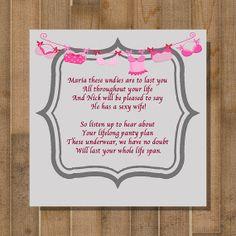 PRINTABLE Bridal Shower Game, Bachelorette Party Game -- Panty Poem -- CUSTOM