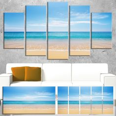 Wide Blue Sky Over Beach - Seashore Photo Canvas Print | Overstock.com Shopping - The Best Deals on Gallery Wrapped Canvas