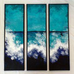 """Ocean"" Acryl on canvas 3 pieces á 30 x 100 cm Abstract Art, Ocean, Paintings, Canvas, Diy, Abstract, Kunst, Pictures, Tela"