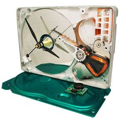Hard Drive Clock accented with Metallic Green Base & by TECOART, $42.00