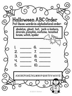 Halloween ABC order and spelling sheet {freebie}