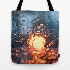 Defocus Glass with Blue and Yellow Light through Water Drops Tote Bag - $22.00