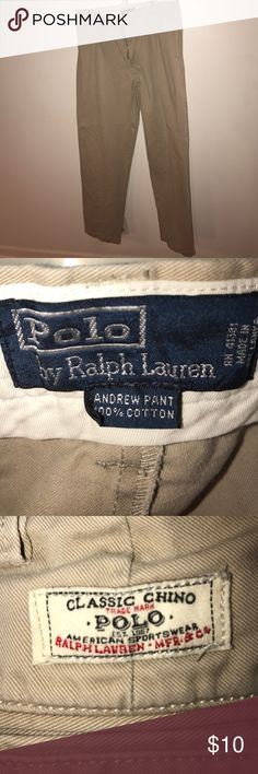 Ralph Lauren Mens khaki pants 36/34 Men's Ralph Lauren polo pants khaki color. Missing the button at the waist. Otherwise no blemishes or alterations. The tag says 36/34 but these are 36/32 according to the measurement I took of the waist and inseam. Pet free/smoke free home Polo by Ralph Lauren Pants Chinos & Khakis