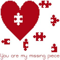 The piece of the puzzle. Lovely cross stitch pattern, perfect for Valentine's Day by crossstitchtheline