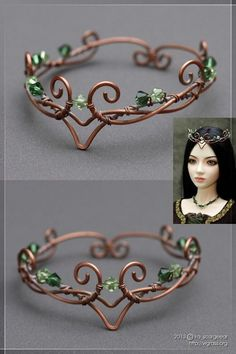 The crown for my Zoryana BJD doll. Copper wire, ammonia patina, Swarovski gems. Tumblr: