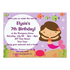 Pool Party Invitations Customizable Mermaid Birthday Party Card