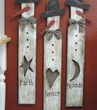 Faith, Family, Friends snowmen ~ use paint sticks???