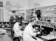 Dr J. Laing and government analysts work on human tissue samples at the Coroner's Court, Sydney, for the Bogle-Chandler murder inquiry, 1 July 1963.