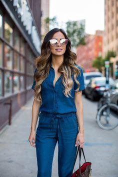 Trending: Denim Jumpsuit. - Mia Mia Mine. Asos Denim Jumpsuit, Quay Mirrored Rose Gold Sunglasses, Sole Society Booties