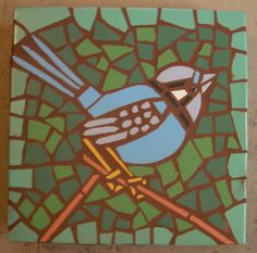 "Made to order, Exterior tile mosaic garden stone, ""Fairy Wren"", 12"" square, exterior tile, bird, green, blue(or wall hanging)"