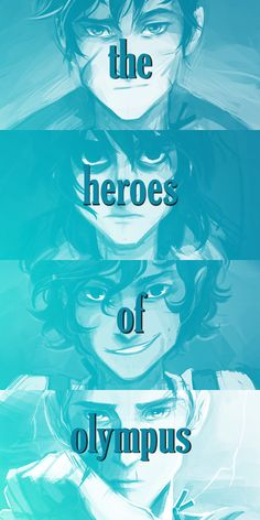 The Heroes of Olympus. Percy Jackson, Nico Di Angelo, Leo Valdez, and Jason Grace.