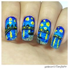 Vincent van Gogh - Starry Night Over the Rhone [Freehand Nail Art]