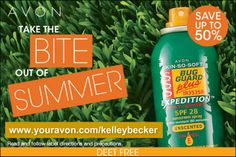 The bugs are HERE!!! Whether you've got mosquitos, gnats, ticks or more Avon's Bug Guard will help you!! Trust me!! Get yours while it's still on sale!! www.youravon.com/kelleybecker #bugs #repellent #skinsosoft #avon