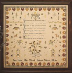 Jane Giles Sampler Just Cross Stitch Linen Stitches by brokemarys, $5.49