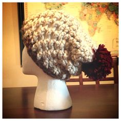Cream Beanie with Brown Band and Red Poof on Etsy, $16.00