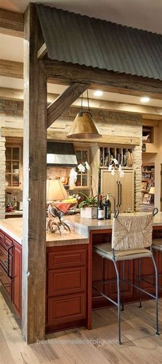 Over the years, many people have found a traditional country kitchen design is just what they desire so they feel more at home in their kitchen. Rustic Kitchen Cabinets, Kitchen Rustic, Rustic Kitchens, Kitchen Island, Bar Cabinets, Basement Kitchen, Red Kitchen, Kitchen Colors, Basement Ideas