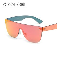31af1a86f6  FASHION  NEW ROYAL GIRL Retro Rimless Sunglasses Women Brand Design Flat  Top Gold Red