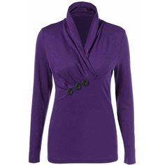 Shawl Collar Button Decorated T Shirt (1845 RSD) ❤ liked on Polyvore featuring tops, t-shirts, purple t shirt, button t shirt, button top, embellished top and embellished t shirts