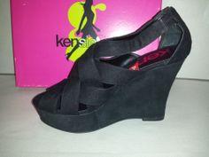 Kensie Girl Gavin Faux Suede Dress Shoes Wedge Sandals Heels Womens Size 8.5M
