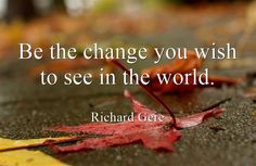 'Be the change you wish to see in the world' - Richard Gere